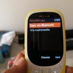 Screenshot of Nokia 3310 using Bluetooth