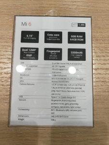 Xiaomi - Mi 6 Specifications
