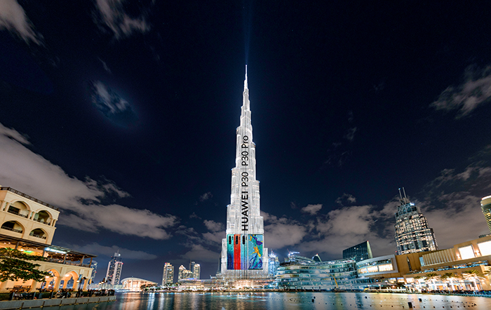 Burj-Khalifa-lights-up-during-the-HUAWEI-P30-Series-Regional-launch-in-Dubai