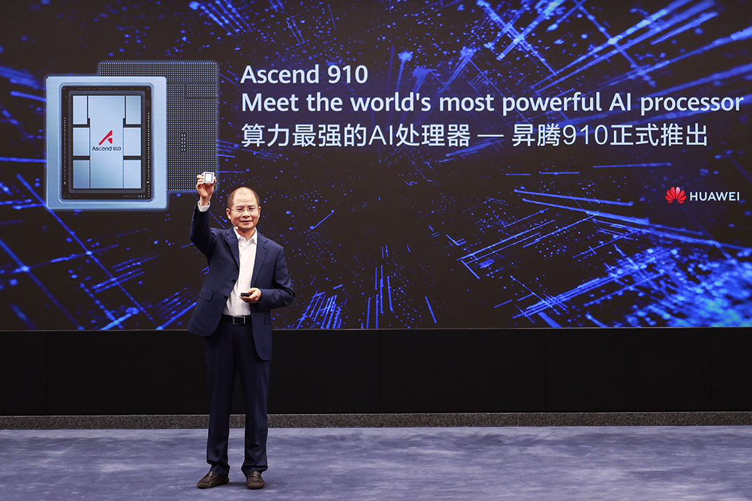 Eric Xu at the launch of Huawei Ascend 910 processor