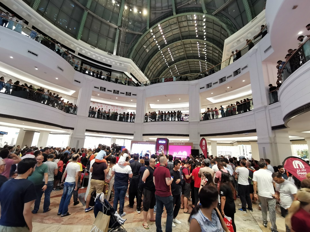 Crowd gathere at MAF- Share launch event - at Mall Of Emirates-for free points via competition