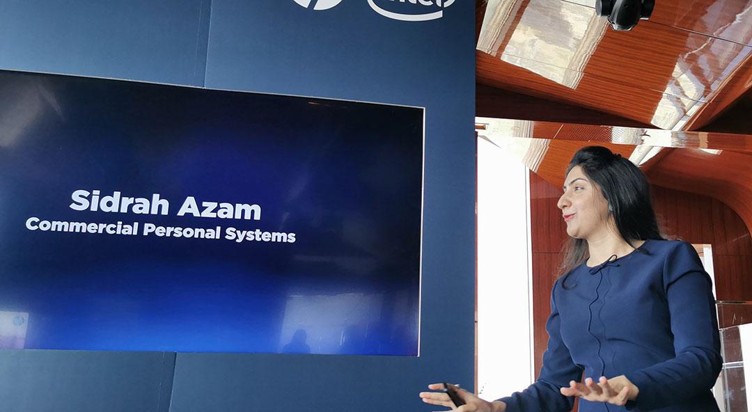 Sidrah-Azam--talking-about-the-HP-Elite-DragonFly-Laptop