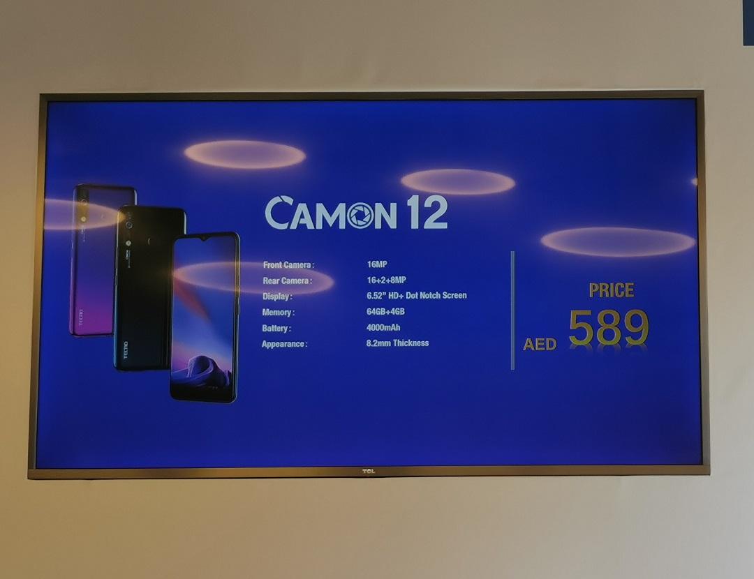 TECNO Mobile- Camon 12 -smartphone-Price-AED 589, including VAT