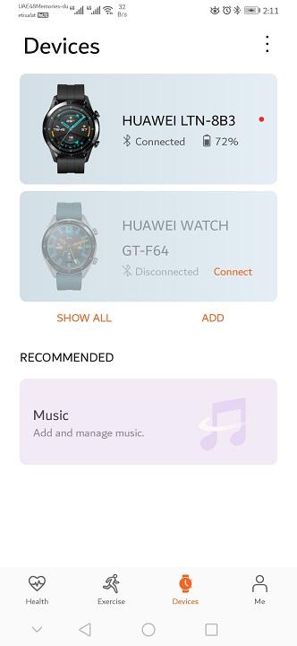 Huawei GT2-Watch on Health App