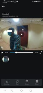 Eufy Video Doorbell - Screenshot with Face detection - Actual Video capture