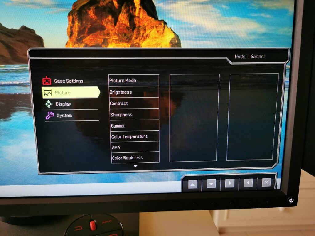 BenQ Zowie XL2746S - Setting up Gamer profile - Picture setup
