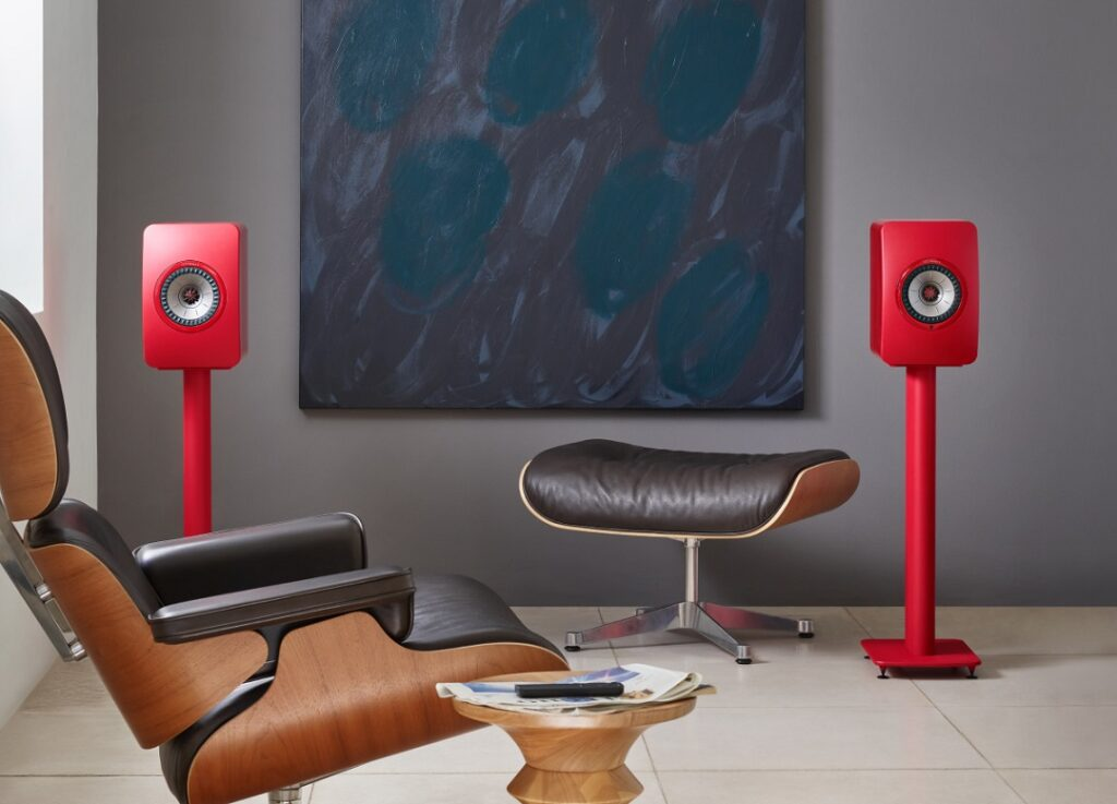 KEF LS50 speaker with S2 stand