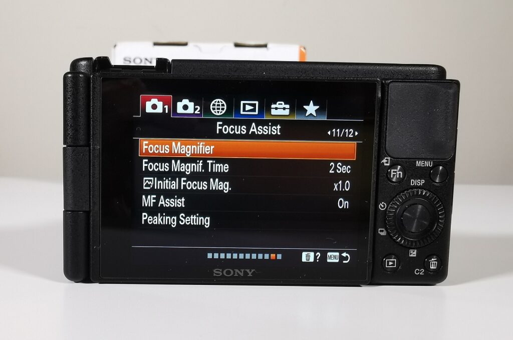 Sony ZV1 Camera-Menu-Choosing additional Focus Assist for the screen