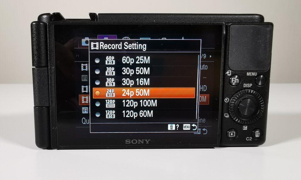 Sony ZV1 Camera-Menu-Choosing the Recording Format