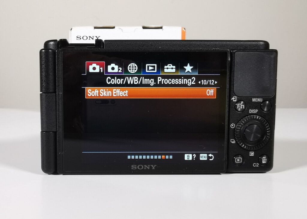 Sony ZV1 Camera-Menu-Switching on Soft Skin Effect