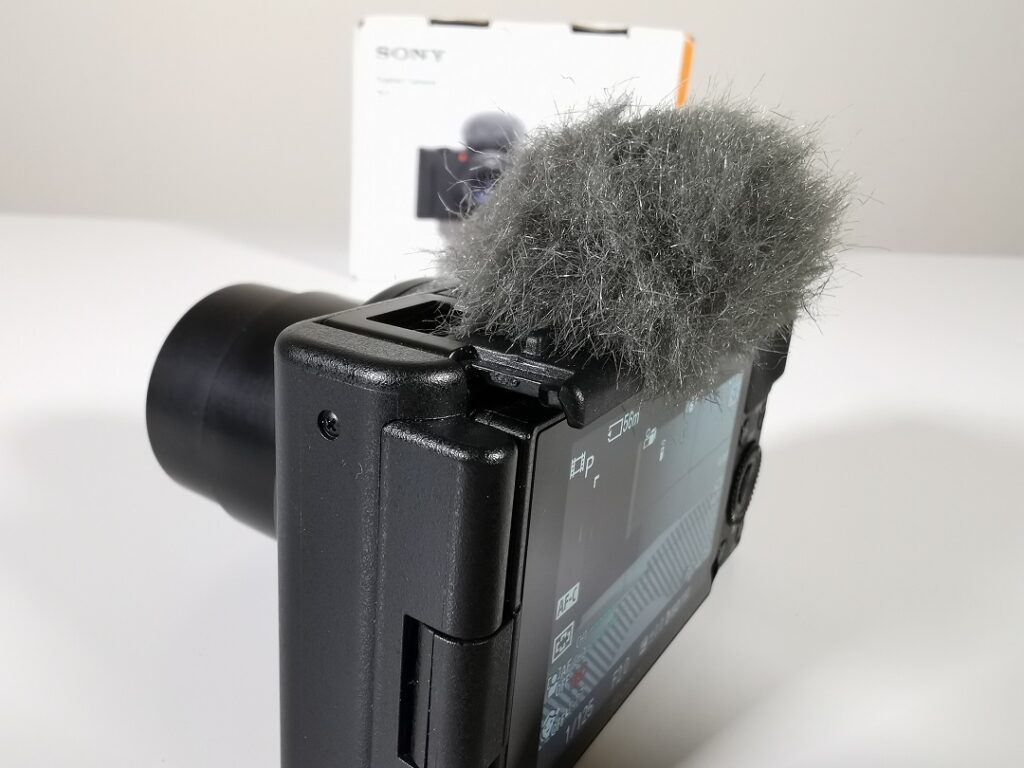 Sony ZV1 Camera-WindScreen attached to the Hotshoe
