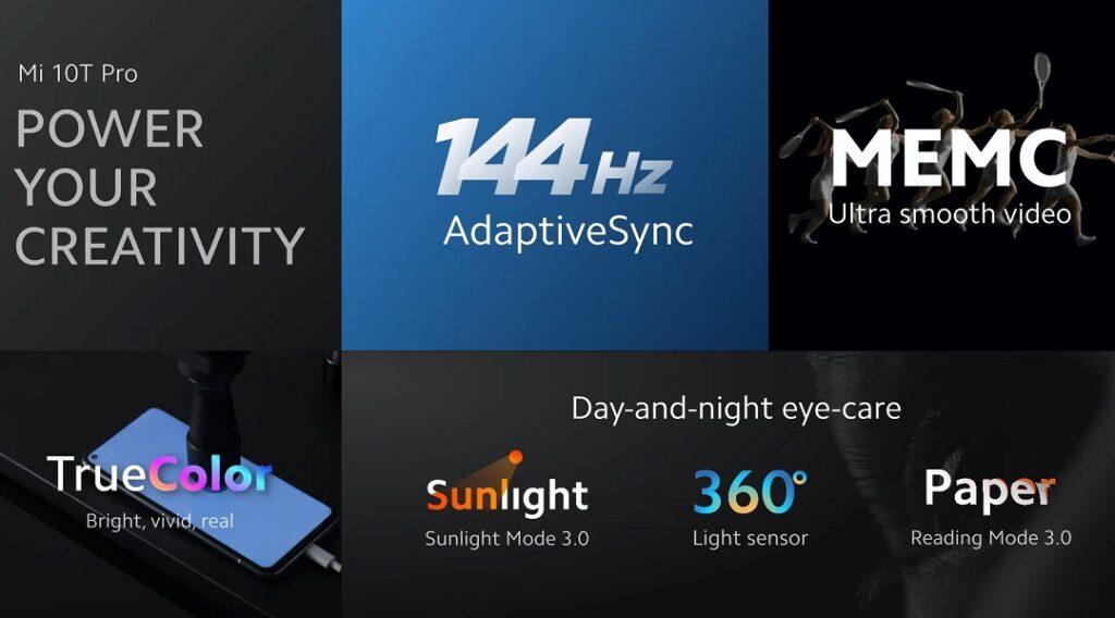 Xiaomi's Mi10T Pro's display features