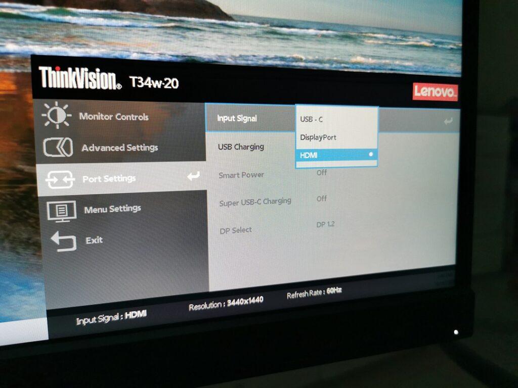 Lenovo ThinkVision T34W-20 Monitor- OSD - Port Setting