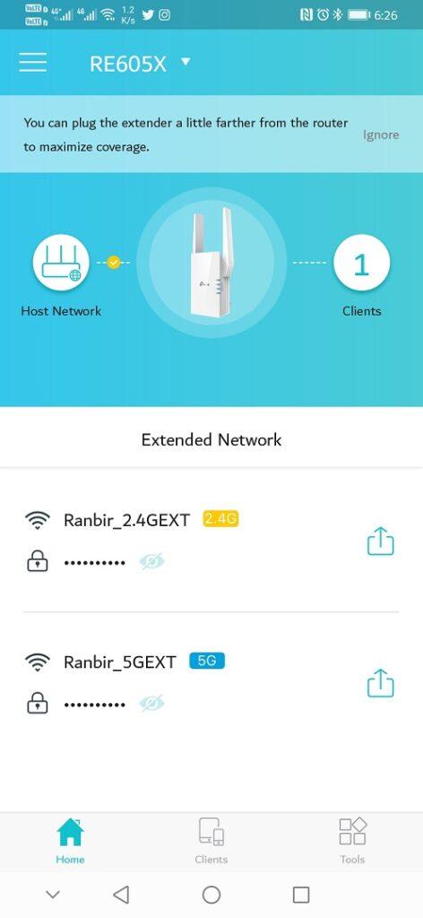Tp-Link Tether App- screenshot - Dual Band Network