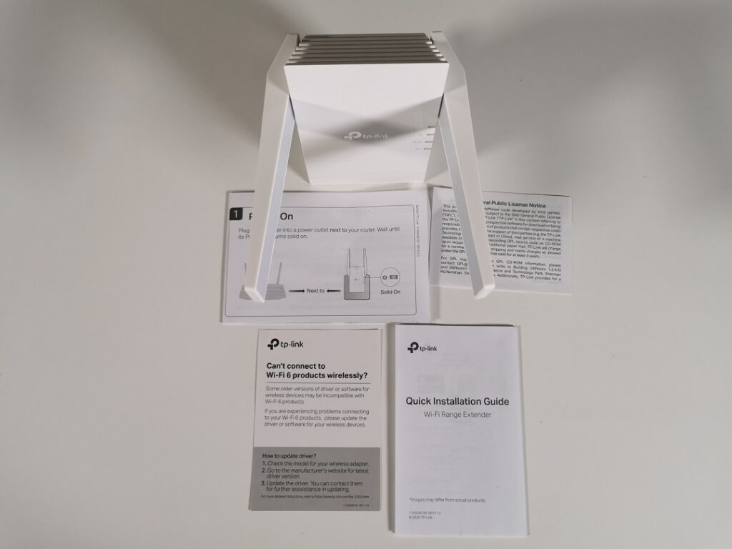 Tp-link AX1800 -Model_RE605X-content of the box