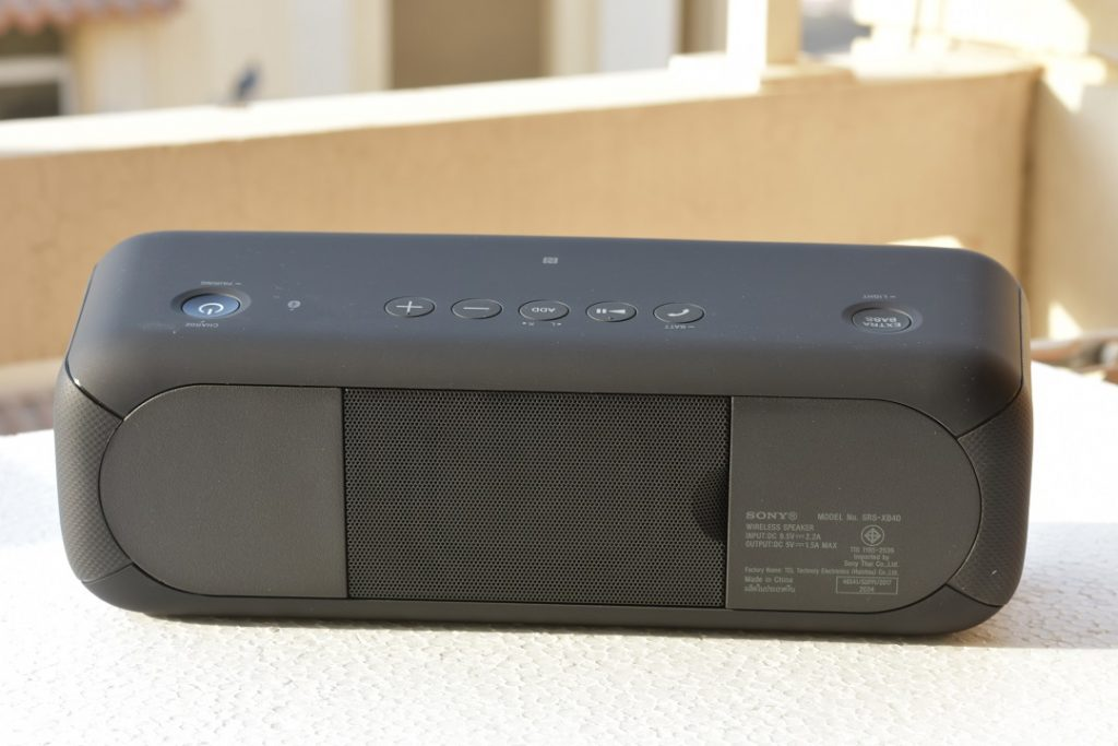 Sony XB40 wireless speaker -Back view - Hidden panel on the right and centre rear-firing passive radiator.