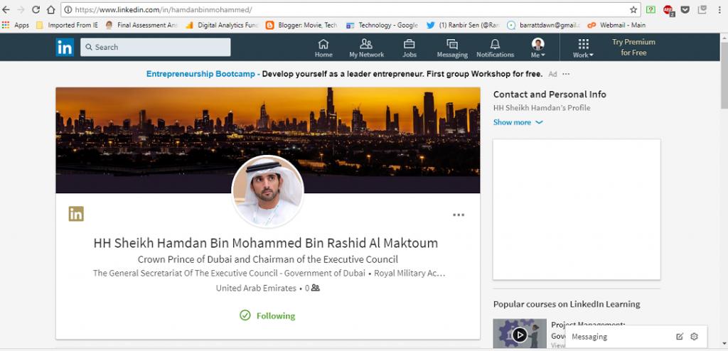H H Sheikh Hamdan bin Mohammed - linkedin page