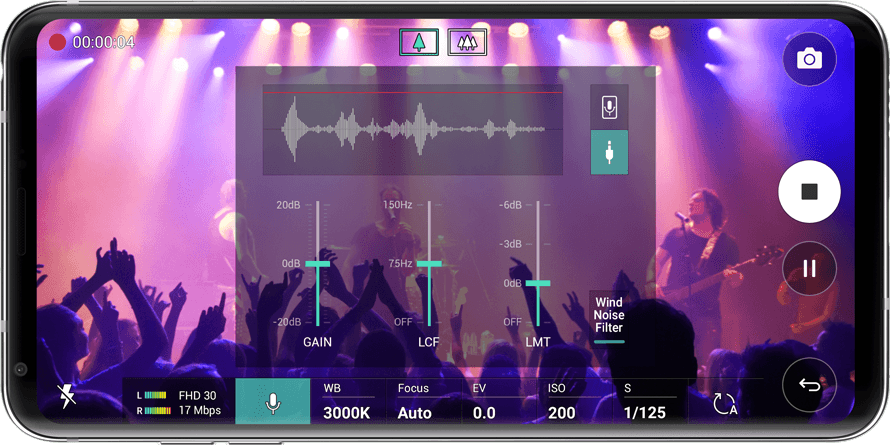 LG V30+ While recording you can control the MIC level with Wind noise filter