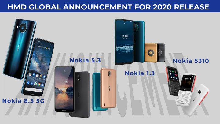 "The HMD Global Announced Nokia 8.3 ""The 1st 5G Global Roaming Smartphone"", Nokia 5.3, Nokia 1.3, Nokia 5310 phones and HMD Connect Global Roaming SIM Card with App."